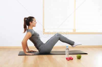 Girl doing sport exercises