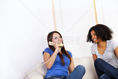 Girls using a phone