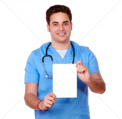 Gorgeous nurse man holding a white card