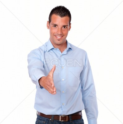Handsome adult man with greeting gesture