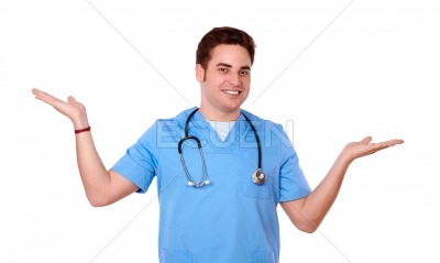 Handsome male nurse holding out his palms