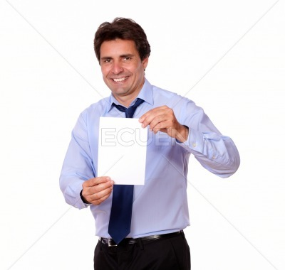 Handsome man smiling and showing you a card