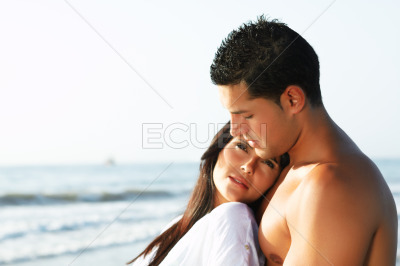 Loving couple looking at the horizon