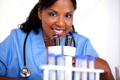 Medical doctor woman looking at you