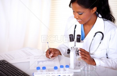 Medical doctor woman working at laboratory