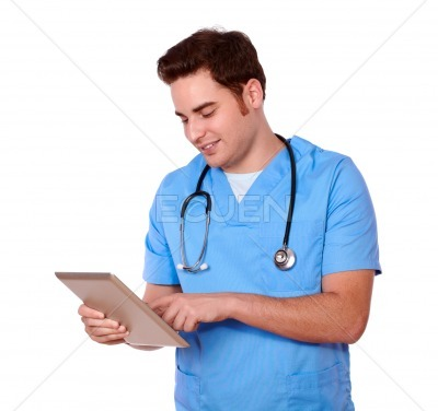 Medical nurse guy using his tablet pc