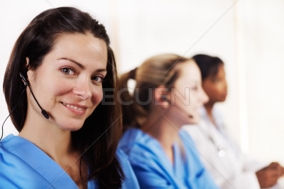 Nurse talking in a callcenter