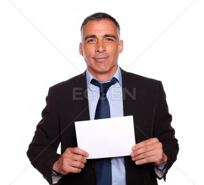 Positive businessman looking to you