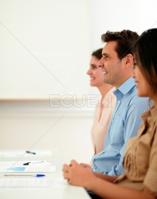 Professional guy listen and sitting on a meeting