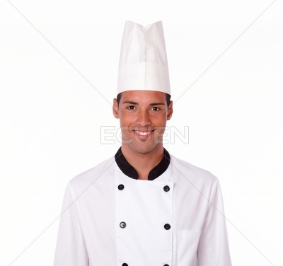 Professional handsome chef smiling at you