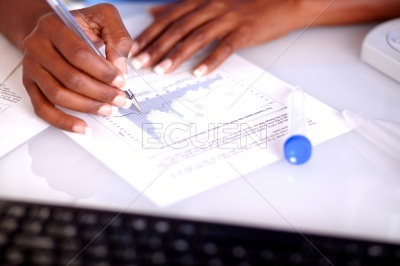 Scientific woman studying medical documents