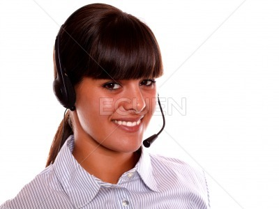 Smiling receptionist using earphone looking at you