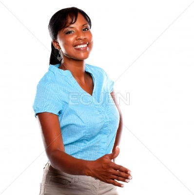 Smiling young woman with extended right hand