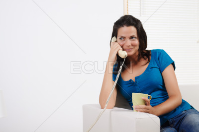 Woman on the phone and smiling