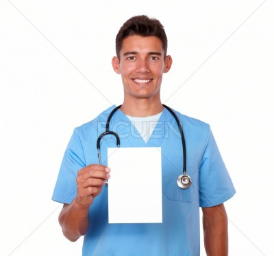 Young male nurse holding a blank card
