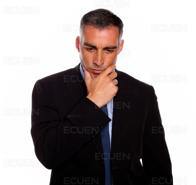 Adult and reflective man touching the chin stock photo
