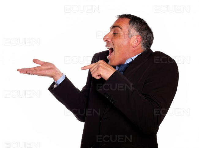 Adult man looking and pointing extended hand stock photo