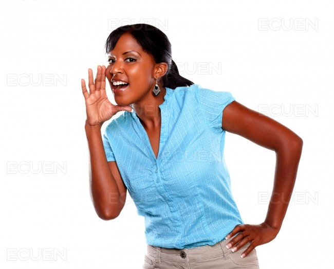 Adult woman screaming and looking at you