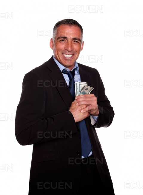 Ambitious hispanic executive holding cash money stock photo