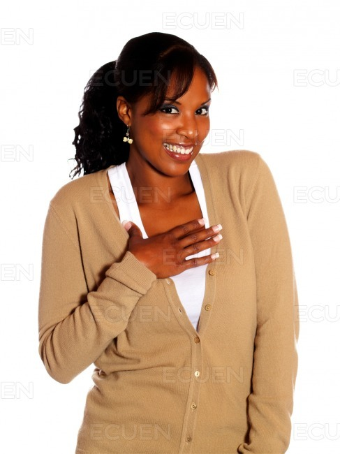 Attractive afro-american woman looking at you