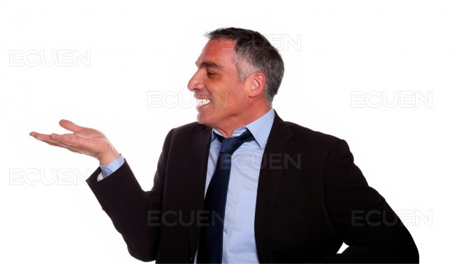 Attractive and excited hispanic executive smiling stock photo