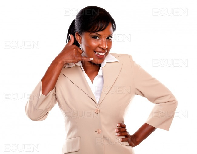Attractive businesswoman saying call me