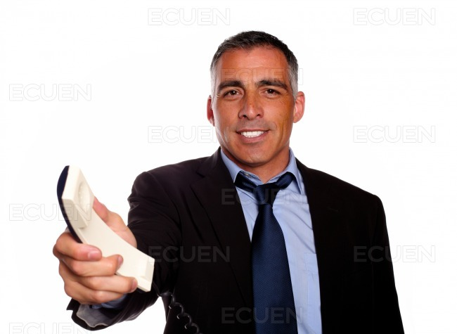 Attractive man offering make a call stock photo