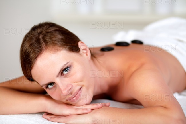 Attractive young woman at a spa stock photo