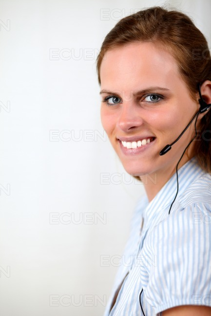 Beautiful blonde secretary smiling stock photo