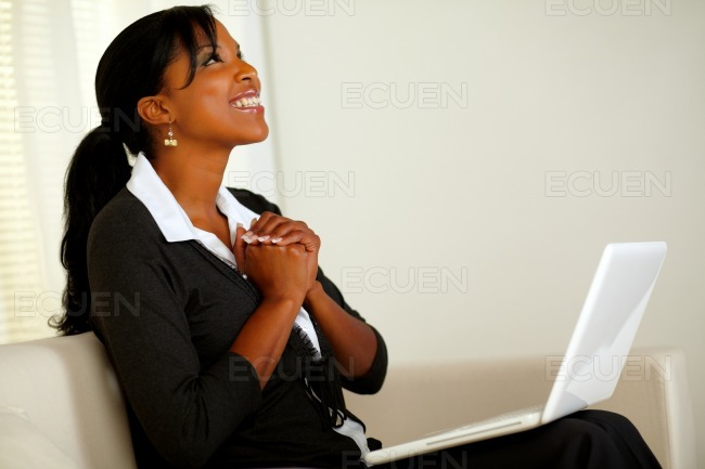 Beautiful business woman on black suit and smiling stock photo