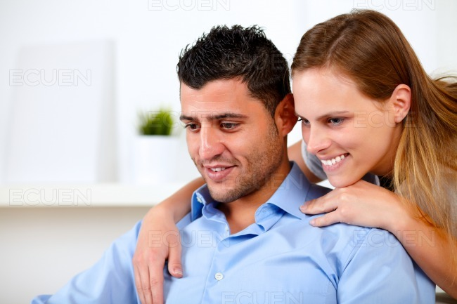 Beautiful couple in love looking something stock photo