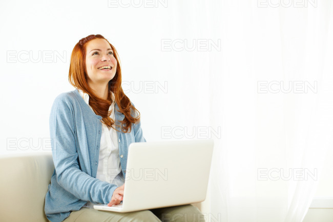 Beautiful woman having fun and looking up stock photo
