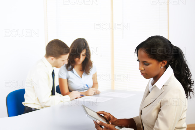 Black businesswoman with a Tablet PC stock photo