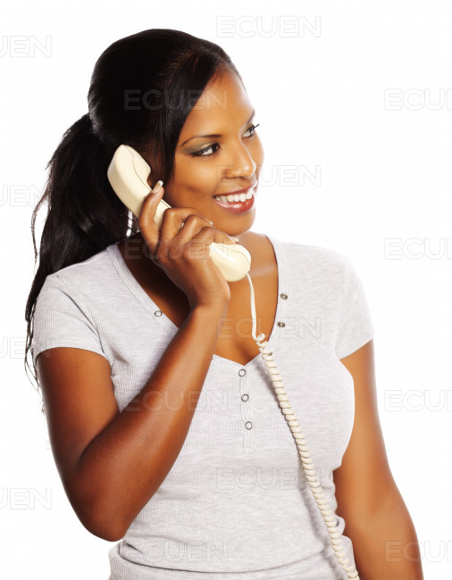 Black woman on the phone stock photo