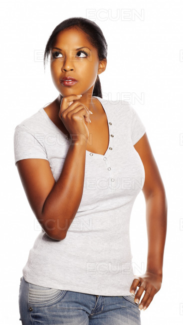 Black woman thinking stock photo