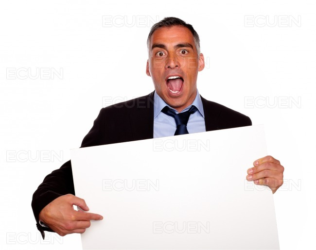 Broker screaming and pointing a card stock photo