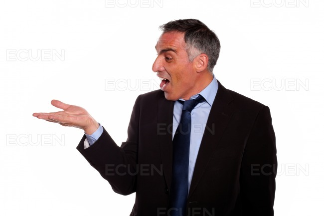 Business man screaming with extended hand stock photo