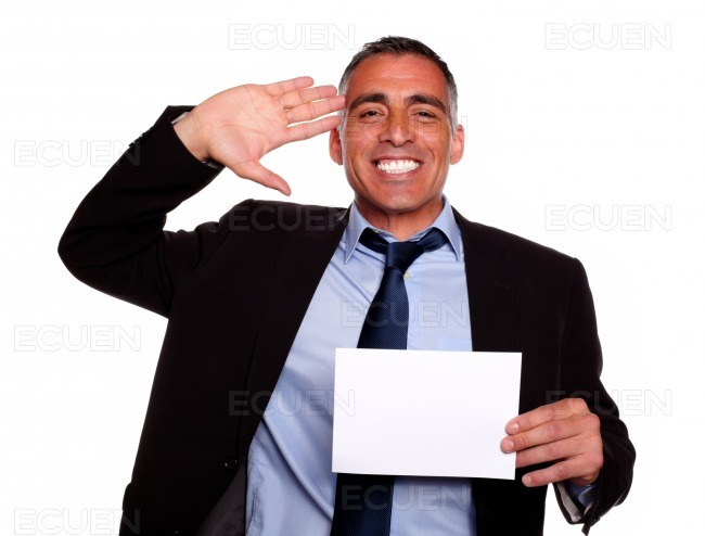 Businessman greeting and laughing stock photo