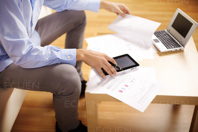 Businessman using a Tablet PC stock photo