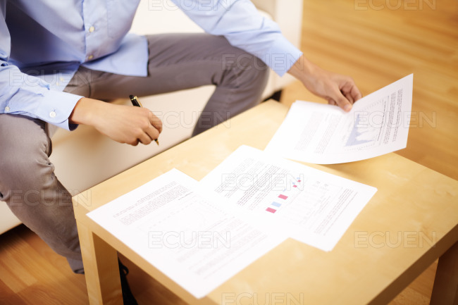 Businessman working with documents stock photo