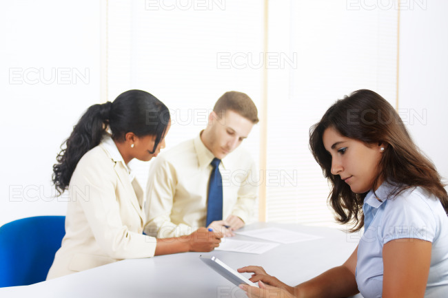 Businesswoman using a tablet PC stock photo