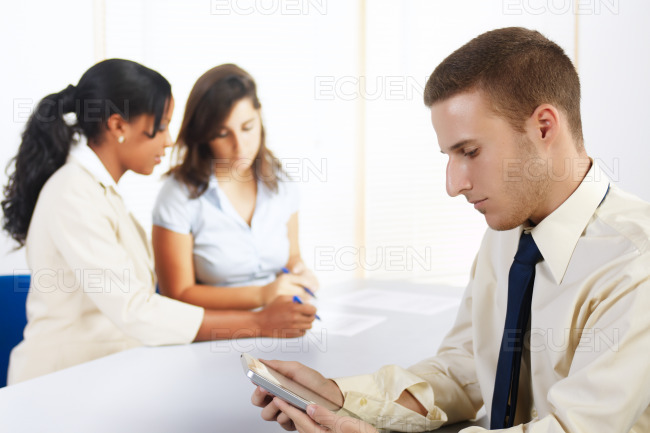 Caucasian businessman with a Tablet PC stock photo