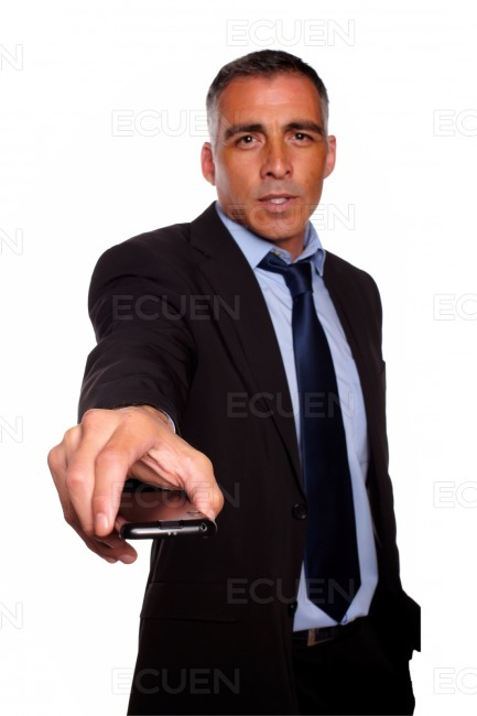 Charismatic business man with a cellphone stock photo