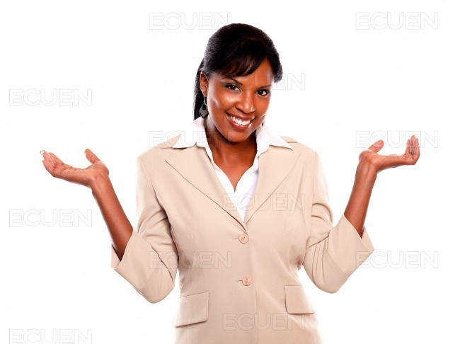 Charmig executivewoman with arms up looking at you