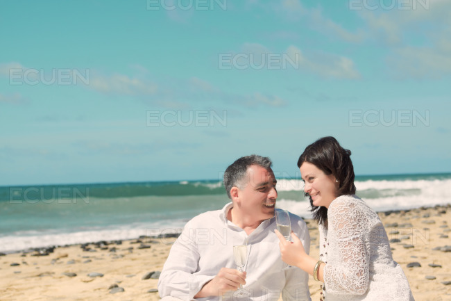 Couples talking and laughing stock photo