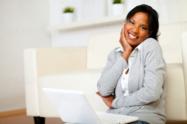 Cute black woman smiling at you stock photo