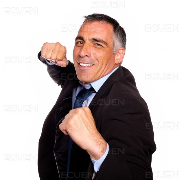 Elegant latin broker man boxing stock photo