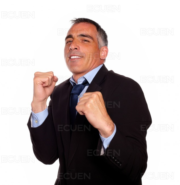 Elegant latin business man boxing stock photo