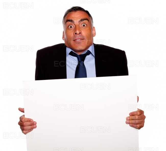 Elegant surprised hispanic senior man stock photo