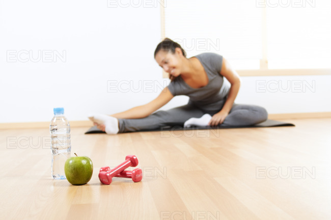 Elements of a healthy lifestyle stock photo